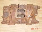 "Factory iron small-block 4-bbl intake #3671918 (1972 ""LA"" 4bbl A/B/E with N95)"