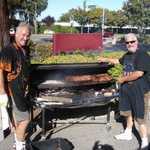 Walt and Stu fire up the BBQer.